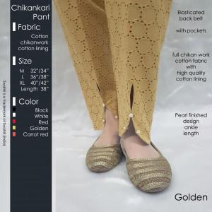 Chikankari Pant Golden