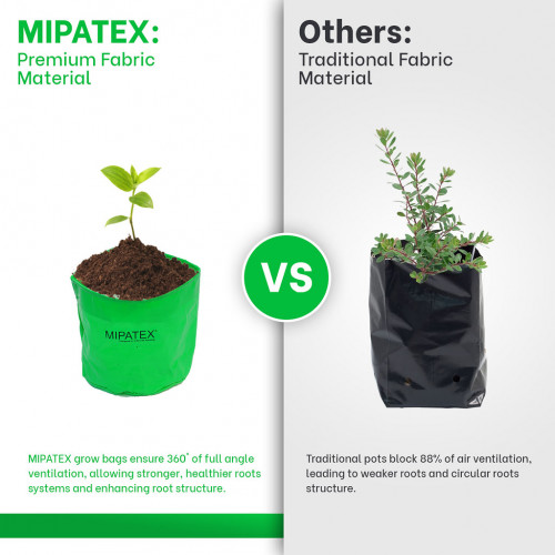 Mipatex Woven Fabric Grow Bags 6in x 6in, Heavy Duty Plant Pot Fruits Vegetable, Terrace Home Kitchen Gardening Bags (Pack of 5)