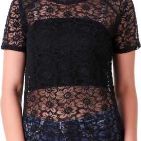 Casual Regular Sleeve Lace Women Black Top