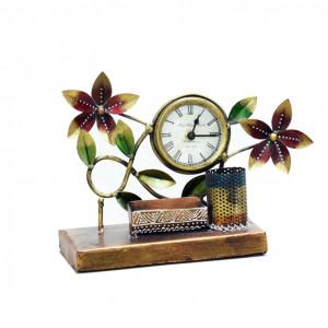 Metal Card Pen Holder Clock