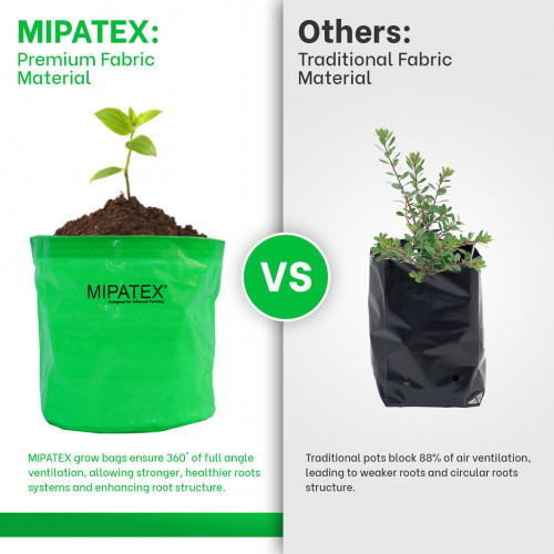 Mipatex Woven Fabric Grow Bags 10in x 10in, Heavy Duty Plant Pot Fruits Vegetable, Terrace Home Kitchen Gardening Bags (Pack of 10)