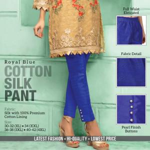 Cotton Silk Pant Royal Blue
