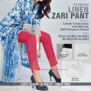 Linen Zari Pant Crimson