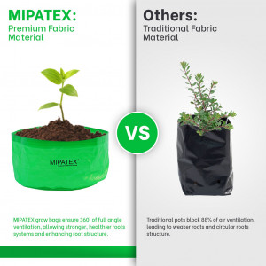 Mipatex Woven Fabric Grow Bags 12in x 6in, Heavy Duty Plant Pot Fruits Vegetable, Terrace Home Kitchen Gardening Bags (Pack of 10)