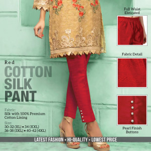 Cotton Silk Pant Red