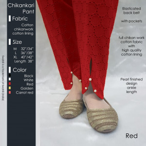 Chikankari Pant Red