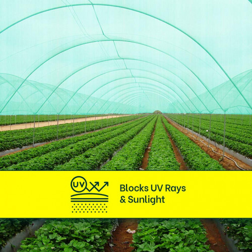 Mipatex 90% Green Shade Net 1m x 5m, Multi-Purpose Greenhouse Garden Nursery Shading Cloth - Blocks Sun Light Dust, Protect Flowers and Plants
