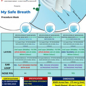 My Safe Breath Non Woven Disposable Mask With Melt Brown Filter (Pack of 50)