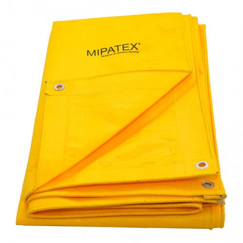 Mipatex Tarpaulin Sheet Waterproof Heavy Duty 12ft x 6ft,  Poly Tarp with Aluminium Eyelets every 3 feet - Multipurpose 130 GSM  Plastic Cover for Truck, Roof, Rain, Outdoor or Sun (Yellow)