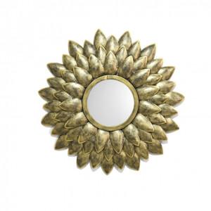Metal Golden Leaf Mirror Wall Art (LED)