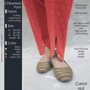 Chikankari Pant CarrotRed