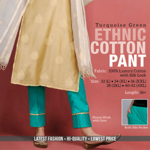 Ethnic Cotton Pant Turquoise Green