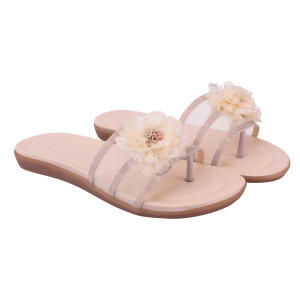 Women Cream Flats Sandal