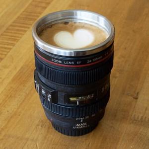 Mug - Camera Lens Shaped Coffee Mug with Lid (400 ml) (Code: 1308473)