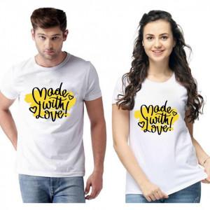 Standard Cotton Printed Couple T-Shirt (Code: 750461)