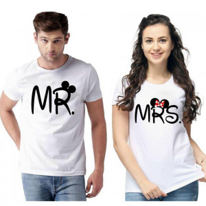 Standard Cotton Printed Couple T-Shirt (Code: 750458)