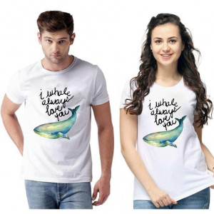 Standard Cotton Printed Couple T-Shirt (Code: 750456)