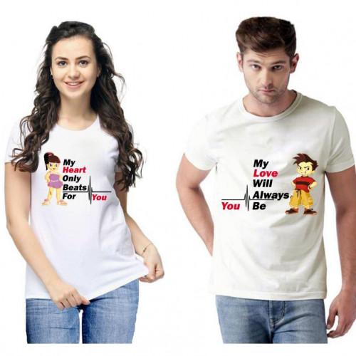 Standard Cotton Printed Couple T-Shirt (Code: 750459)