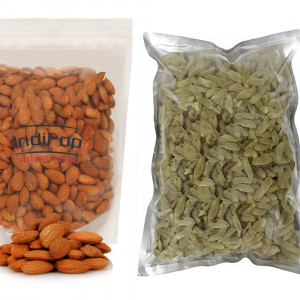 IndiPop Dry Fruits Combo Pack - Golden Kishmish/Raisins(500gm) &  California Almonds(500gm)-Total 1kg(2x500gm)
